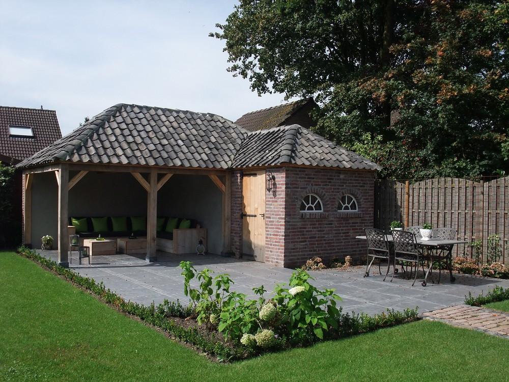 Nieuwbouw Eikenhouten tuinhuis met overkapping - Wanroij